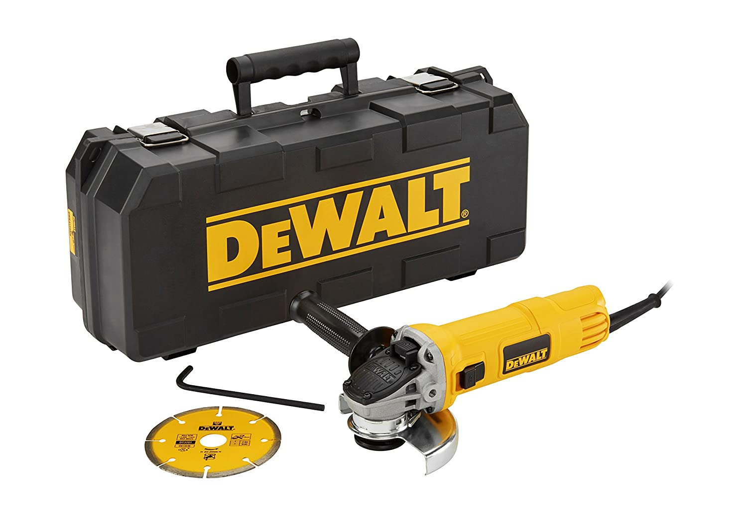 DEWALT DWE4156KD-QS - Mini-amoladora 115mm 900W 11.800 rpm Arranque Suave + Bloqueo y re-arranque + maletí n + disco diamante