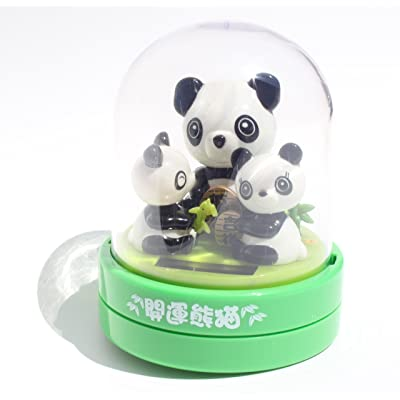 A Panda and it's babies ~ Panda Family Lucky Fortune Solar Bobble Head: Toys & Games