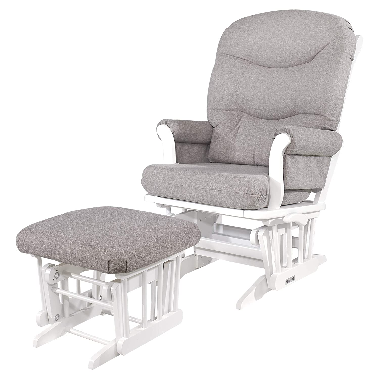 Amazon Com Dutailier Adèle Glider Chair And Ottoman Set With Multi Position Lock White Light Grey Baby
