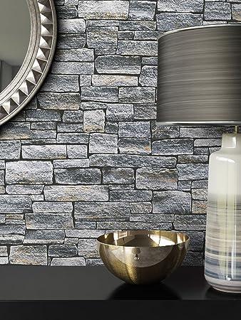 Steintapete Vlies Stein Muster Grau | Schöne Edle Tapete Im Steinmauer Design  | Moderne 3D