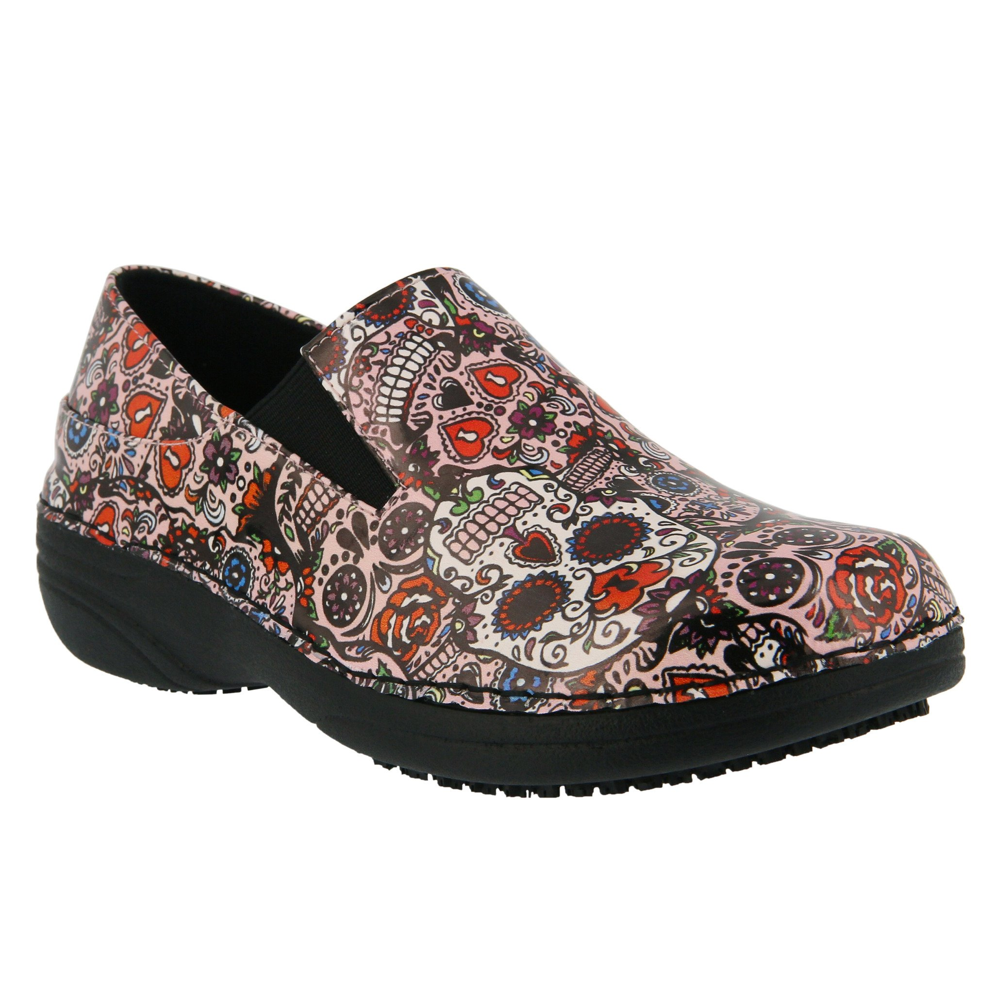 Spring Step Women's Ferrara Work Shoe,Pink Multi Skull,8 B(M) US