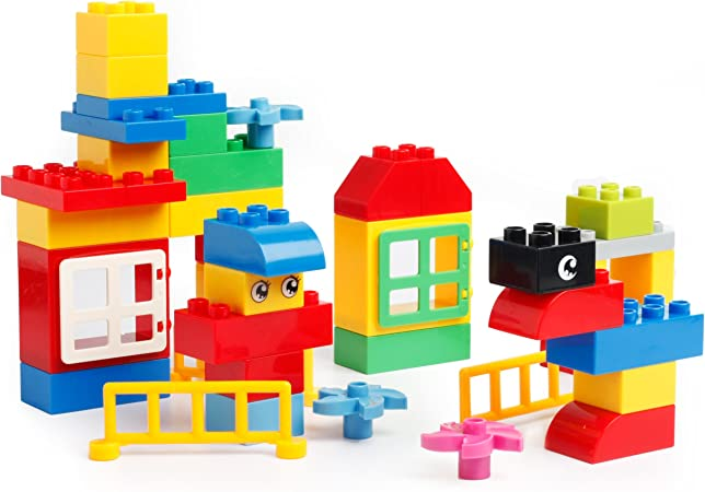 Katara 1755 - Juego de Ladrillos Creativos 100 Pcs Compatibles con Lego Duplo, Hubelino, Papimax, Unico Plus, Multicolor: Amazon.es: Juguetes y juegos