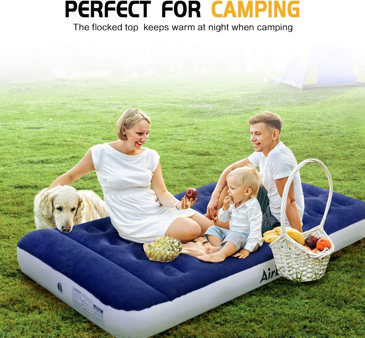 """AirExpect Air Mattress Camping AirBed Queen & Twin Size Leak Proof Inflatable Mattress with Rechargeable Electric Pump Built-in Pillow for Guest, Camping, Hiking, Height 9"""", Storage Bag : Sports & Outdoors"""