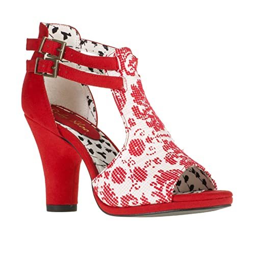 69daf611 Ruby Shoo Khloe Sandals Shoes Sz 3 - 8 Red / Black & White Chunky Floral