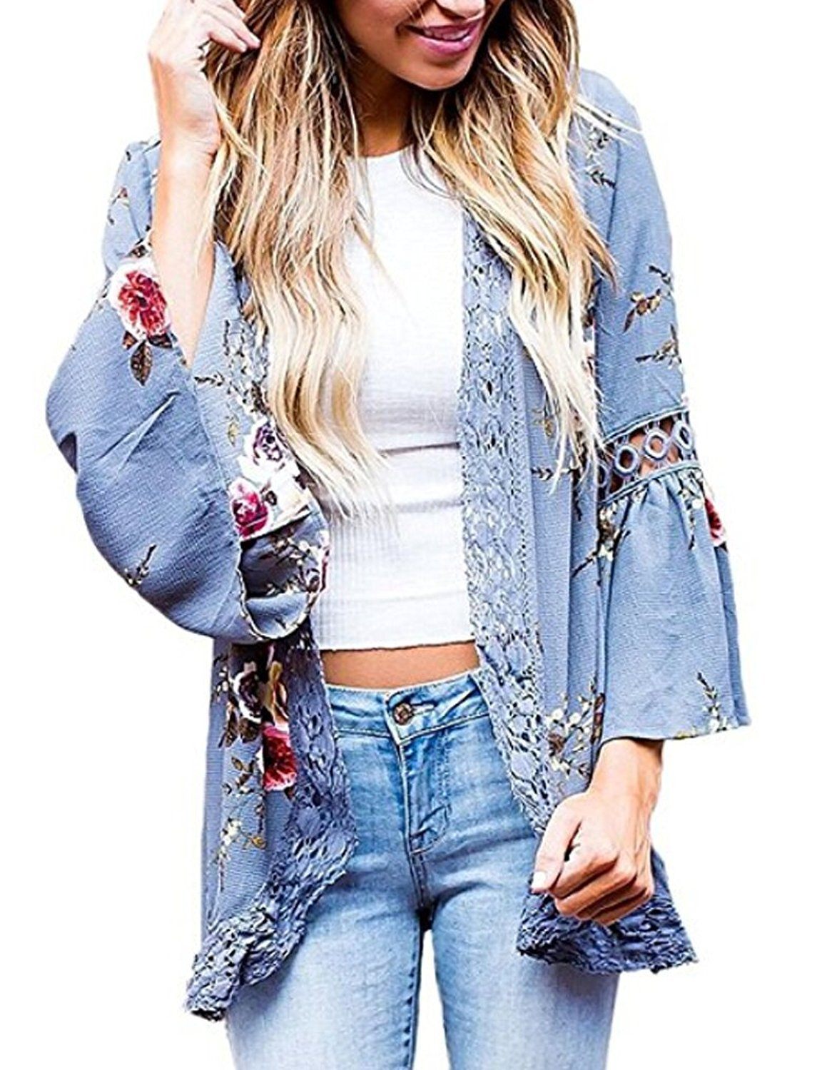 Basic Faith Women's Boho Floral Print Kimono Tops Trumpet Sleeve Cover up Cardigans Blue XL