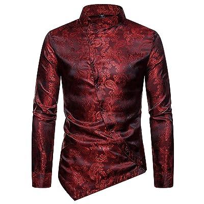 HOP Men's Casual Irregular Hem Slim Fit Button Down Dress Shirt at Men's Clothing store