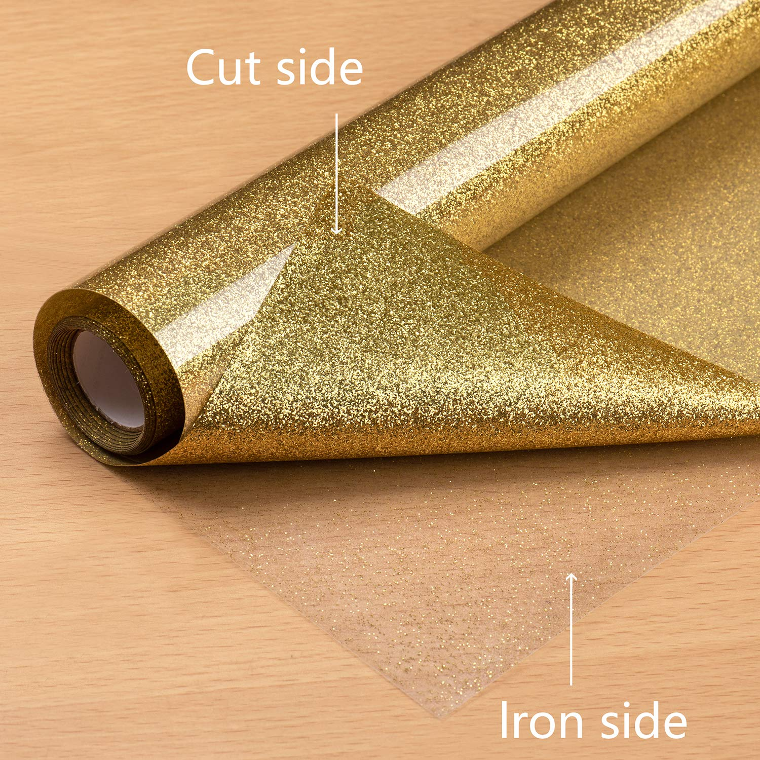 12 x 5ft PU Heat Transfer Vinyl roll Glitter HTV vinyl Iron On Vinyl for Cricut /& Silhouette Cameo Easy to Cut /& Weed Vibrant Color Design for T-Shirt and Other Textiles Durable Gold