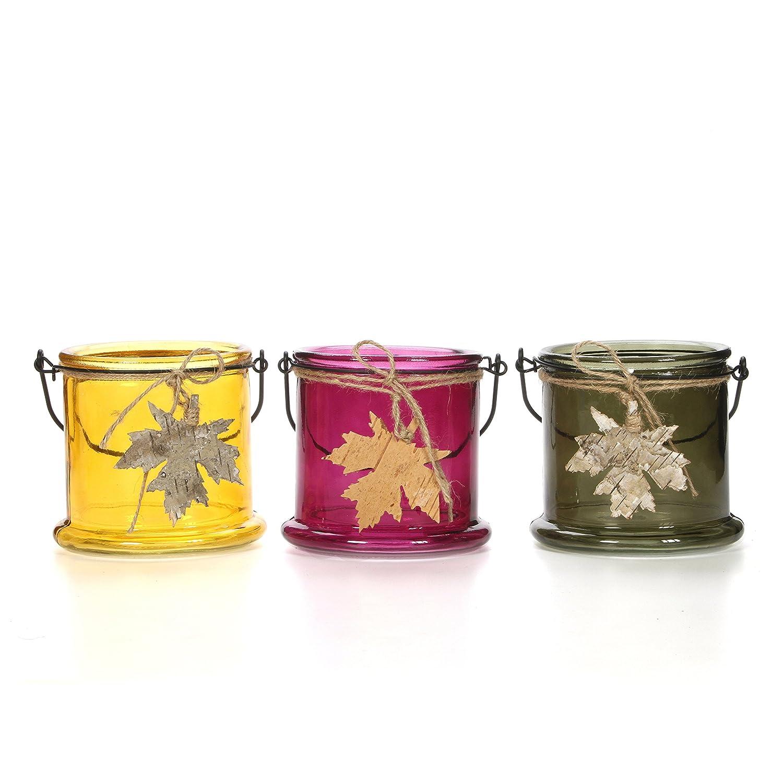 Spa Hosley Set of 3 Assorted Fall Leaf Glass Tealight Holder- 3.94 High Ideal Gift for Wedding Home Reiki Party Favor Bridal Meditation P2