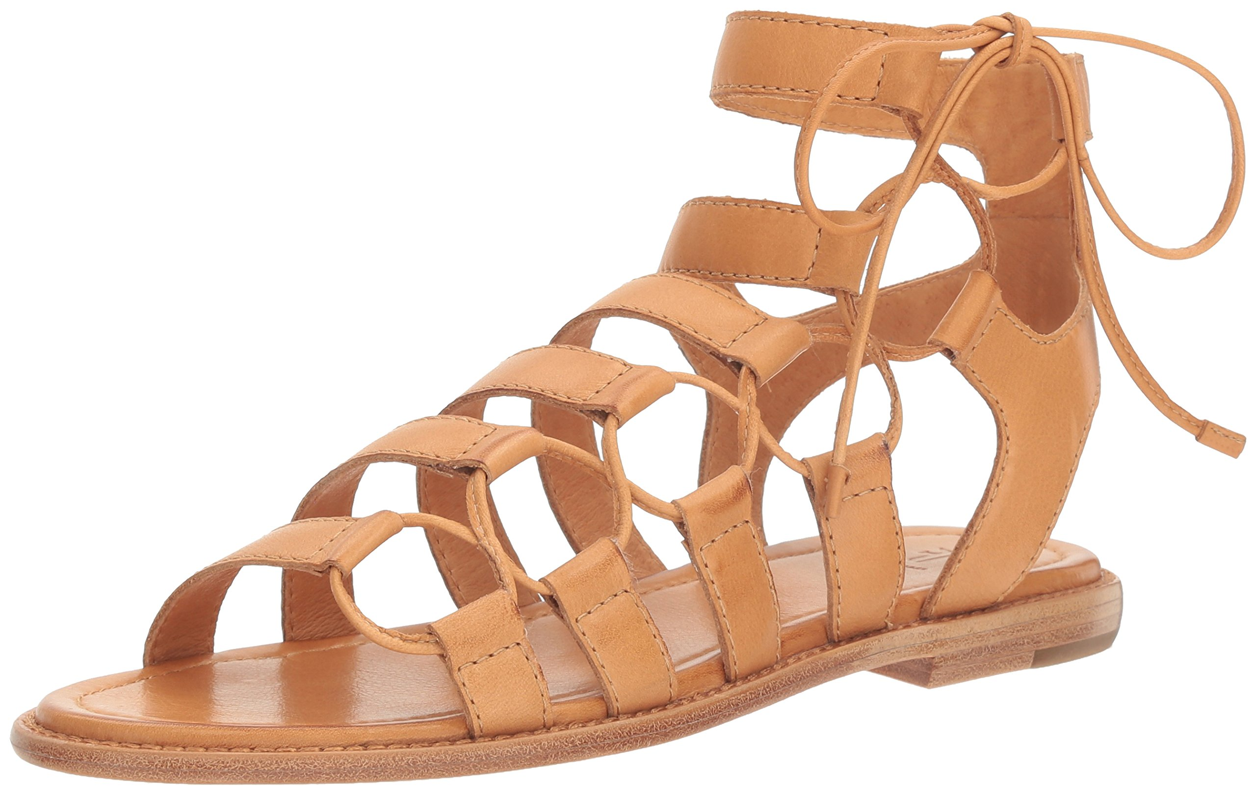 FRYE Women's Blair Side Ghillie Gladiator Sandal, Tan, 7.5 M US