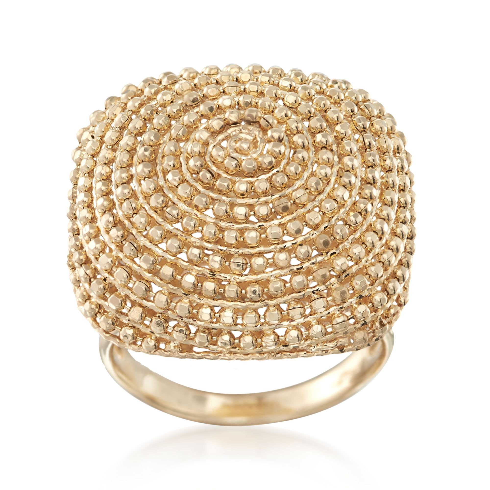 Ross-Simons 14kt Yellow Gold Beaded Square-Top Ring