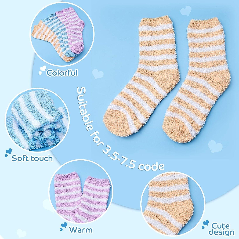 Thick Warm Striped Sleeping Socks Soft Fuzzy Slipper Socks 3 Pairs Winter Fluffy Socks for Women and Girls