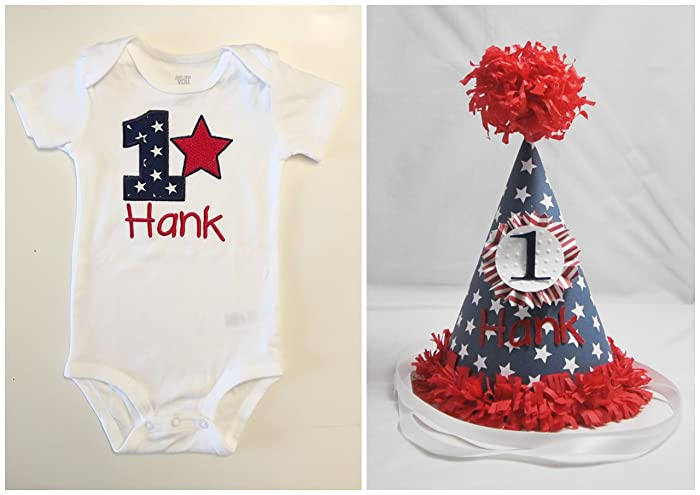 Amazoncom Patriotic 1st Birthday Shirt Bodysuit Party Hat Set