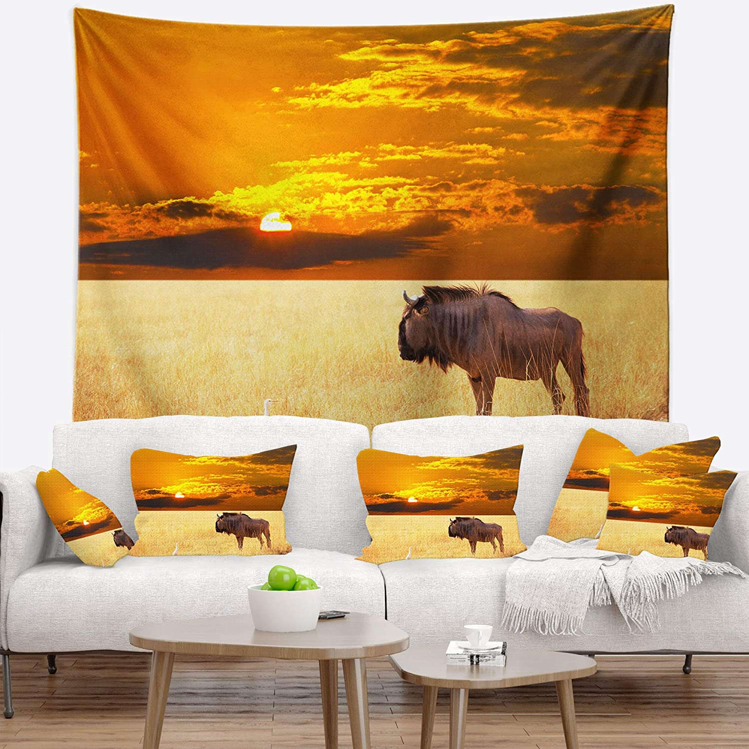 50 in x 60 in in Designart TAP12785-50-60  Huge Antelope in Field at Sunset African Landscape Blanket D/écor Art for Home and Office Wall Tapestry Large