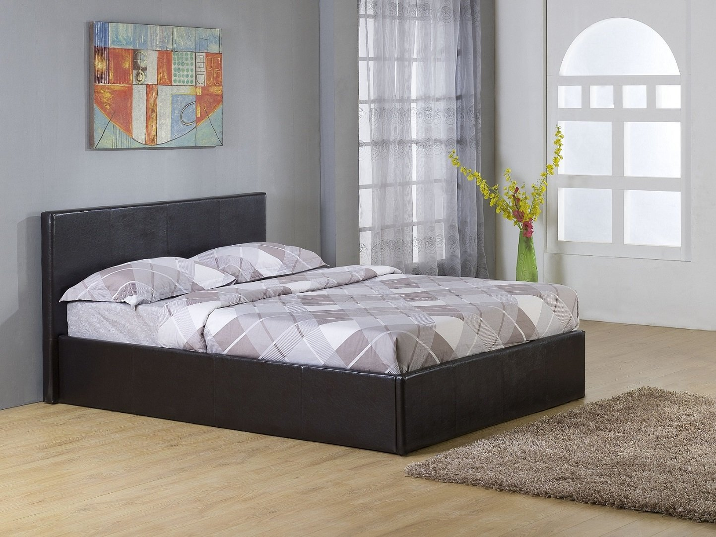 Superior Dark Brown 4ft Small Double Storage Ottoman Gas Lift Up Bed Frame TIGERBEDS  BRANDED PRODUCT: Amazon.co.uk: Kitchen U0026 Home