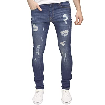526Jeanswear Men's Kato Ripped Stretch Super Skinny Distressed Jeans at Men's Clothing store