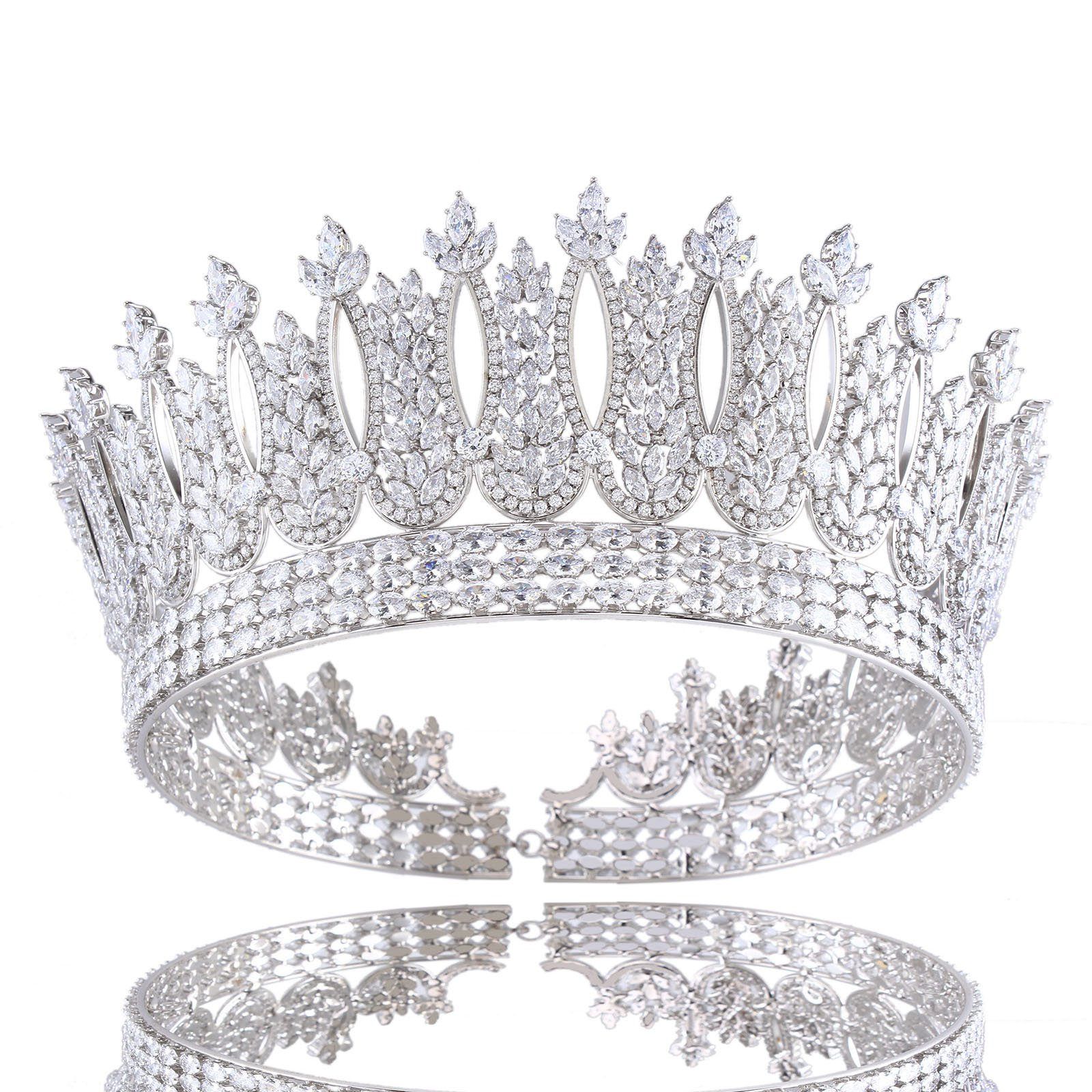 Santfe 2 3/5 ''Height Cubic Zirconia CZ Wedding Bride Crown Tiara Headband Hair Jewelry Accessories