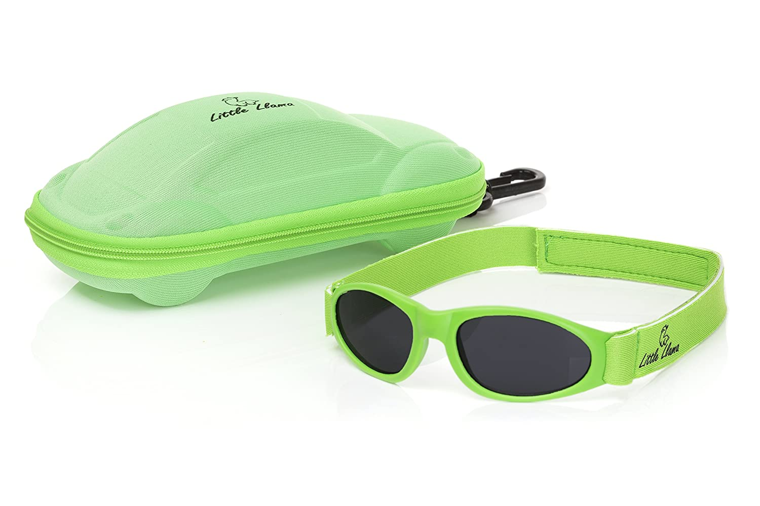 with Adjustable Strap and Case 0 to 2 Years Little Llama Infant Sunglasses Green UVA//UVB Protection