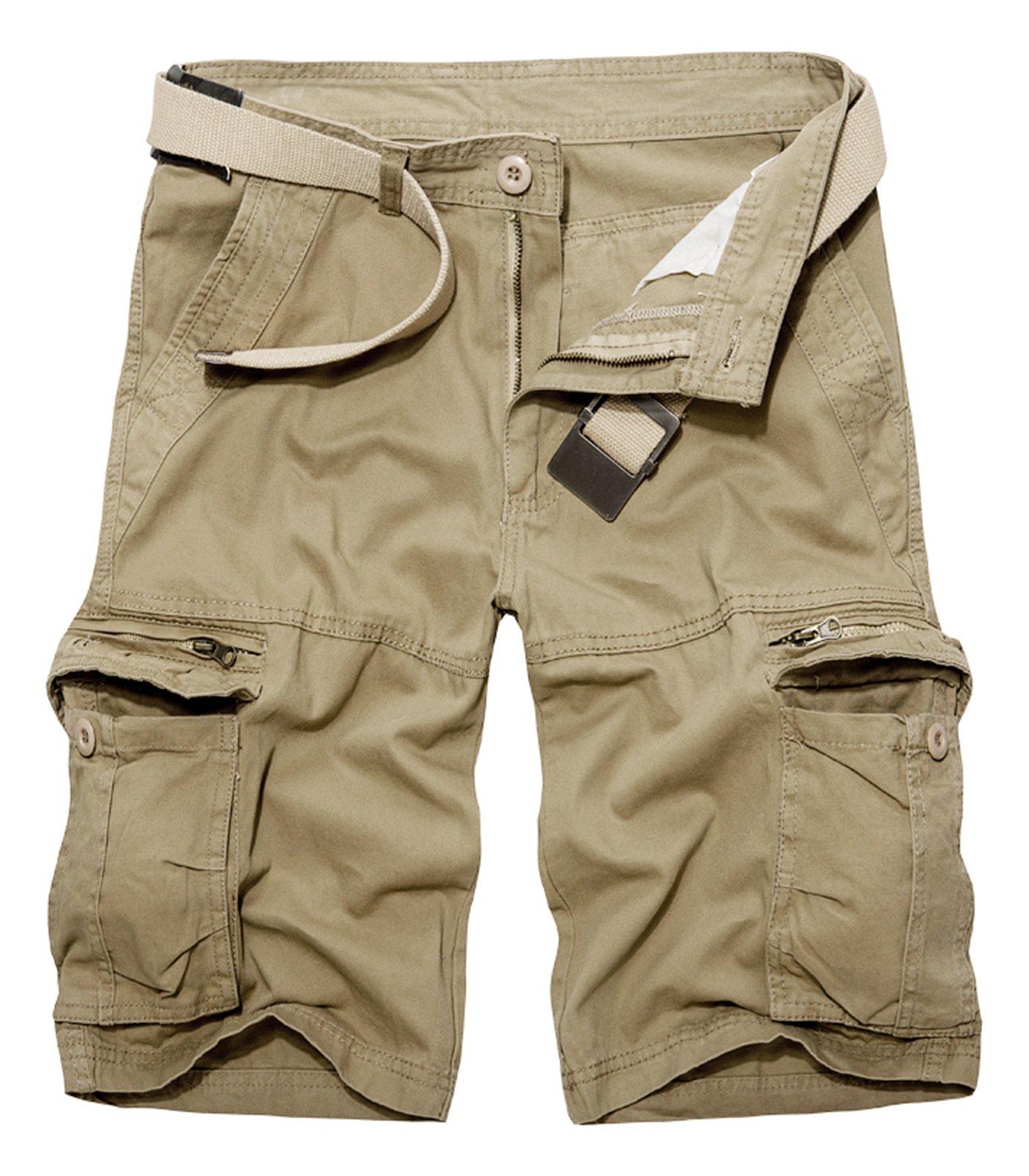 AOYOG Mens Casual Shorts Cargo Shorts Walking Shorts Cotton Solid Color 29-40, Khaki #038, 36
