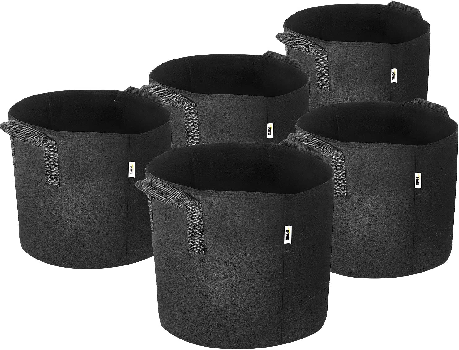 iPower 3-Gallon 5-Pack Grow Bags Fabric Aeration Pots Container with Strap Handles for Nursery Garden and Planting Black