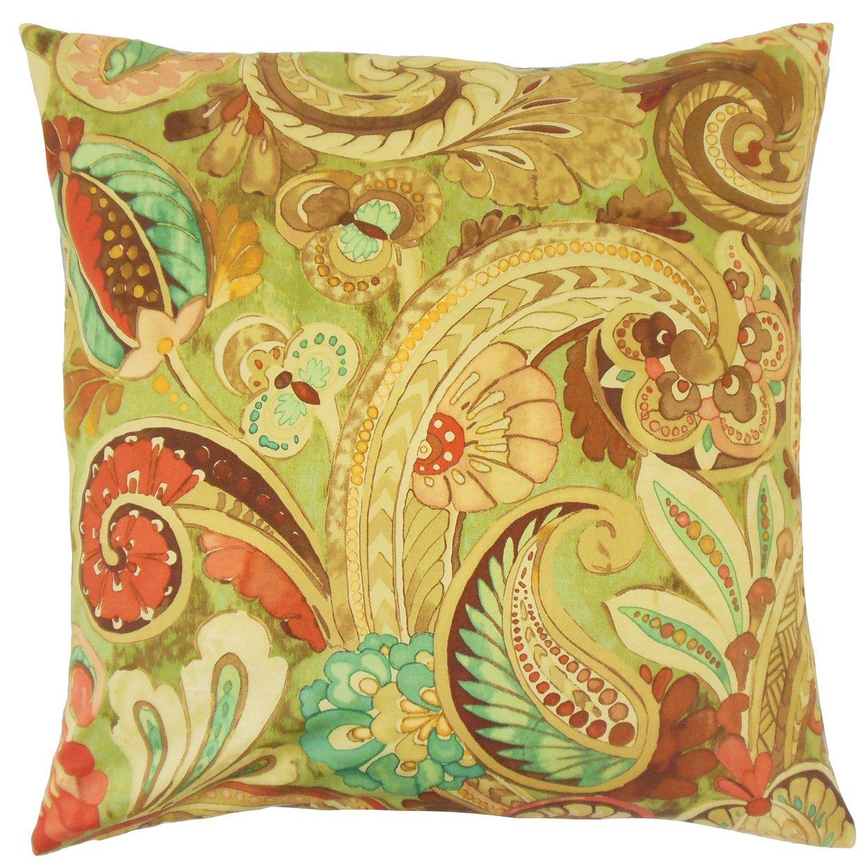 The Pillow Collection P18-WAV-110221-SARONGSWIRL-HENNA-C100 Salihah Paisley Pillow Henna