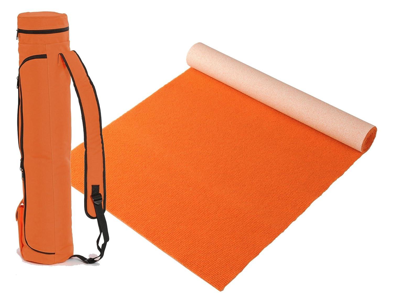 """Bausinger Yogaset  Yogamatte """"Lite"""", Florhöhe 5mm, 60x200 cm, Orange, mit passender Yogatasche"""