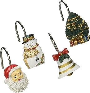 "Carnation Home Fashions ""Christmas Time"" Set of 12 Shower Curtain Hooks"