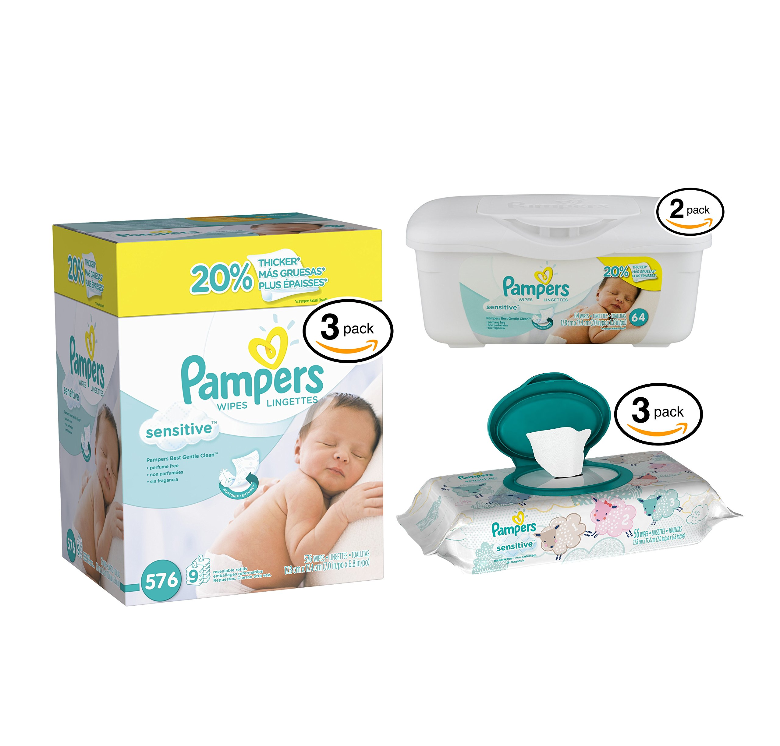 Pampers Sensitive Wipes (27 Refill-64ct / 2 Tub-64ct / 3 Travel Pack-56ct, Sensitive Wipes)