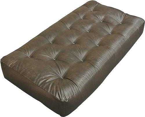Gold Bond Single Foam Cotton Chair Futon Mattress, Leather, 8 , Brown