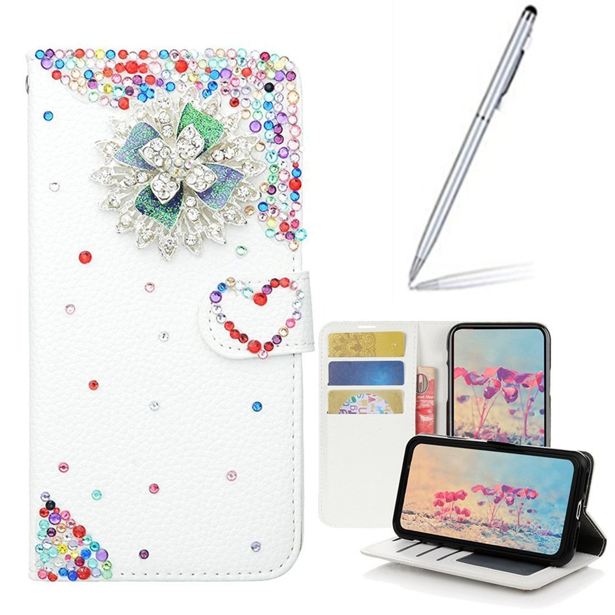 Yaheeda iPhone 8 Plus/7 Plus Case with 2 in 1 Stylus and Ballpoint Pen, [Stand Feature] Butterfly Crystal Wallet Case Premium [Bling Luxury] Leather Flip Cover [Card Slots] For iPhone 8 Plus/7 Plus