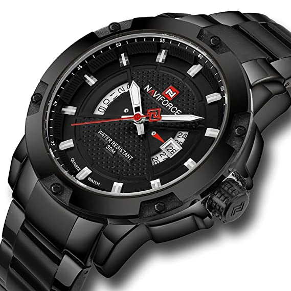 Naviforce reloj de los hombres reloj de pulsera de acero inoxidable deporte Militar reloj de cuarzo
