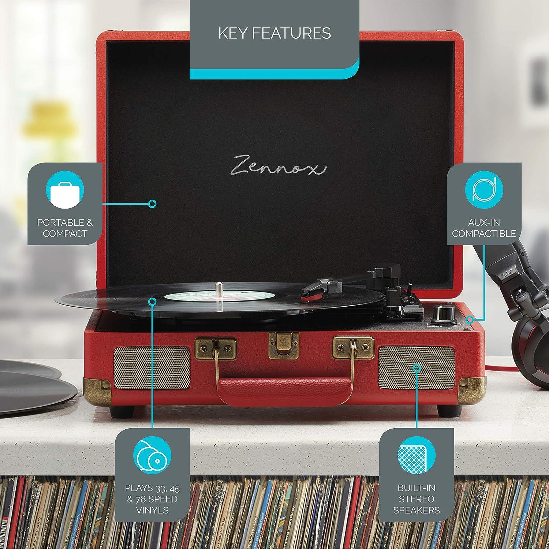 Zennox Reproductor de discos tipo maletín con cubierta ...