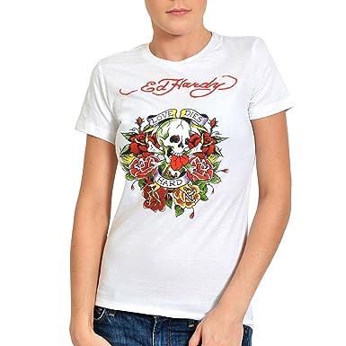 444db59e6 Ed Hardy Womens Love Dies Hard Graphic Tee Shirt - White - Small:  Amazon.co.uk: Clothing