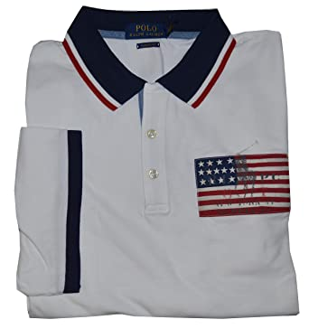 b535177d1 Polo Ralph Lauren Men's Short Sleeve Classic Fit Mesh Americana Pony Flag Polo  Shirt (White, X-Large) at Amazon Men's Clothing store: