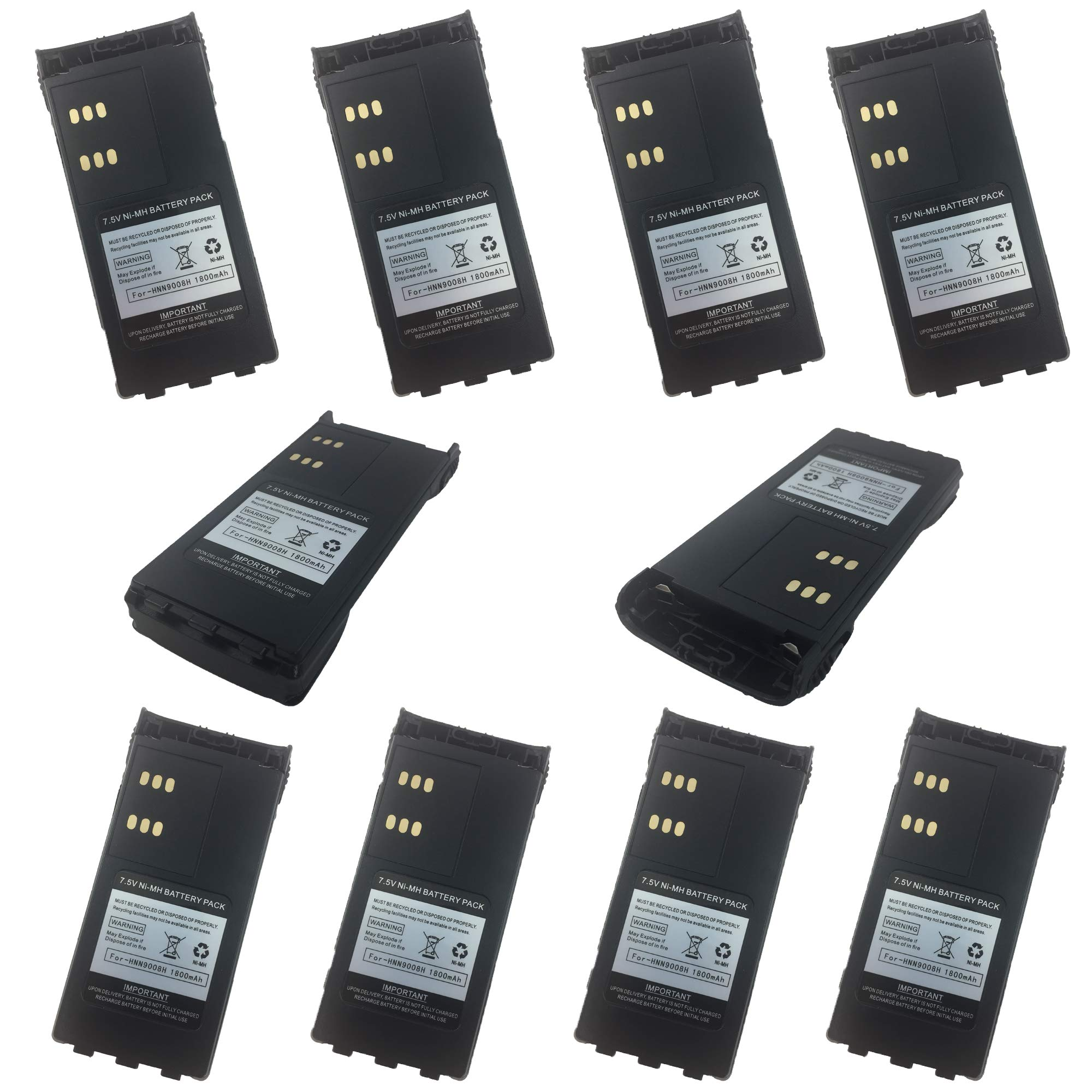 ProMaxPower HNN9008 1800mAh Replacement Battery for Motorola GP328 HT1250 PRO5150 HT1550… (10-Pack)