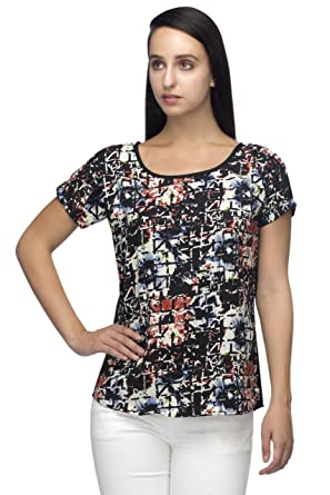 b8740b7272e indietoga Plus Size Designer Crepe Black Multi Colored Abstract Printed  Casual Tops for Girls  Amazon.in  Clothing   Accessories