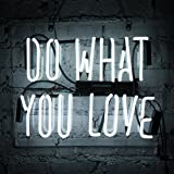 """Neon Light Sign Do What You Love White 14"""" x 9"""" Beer Wall Signs Home Bar Pub Recreation Room Lights Party Gift Windows Garage Decor Lamp"""