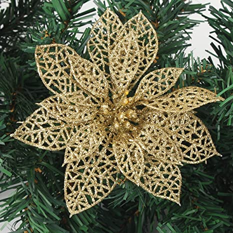 Christmas Flower Decorations.Kingso 10pcs Artificial Flower Christmas Flowers Xmas Tree Decorations Glitter Hollow Wedding Party Decor Shinning Sparkle Sequins Flower Gold 15cm
