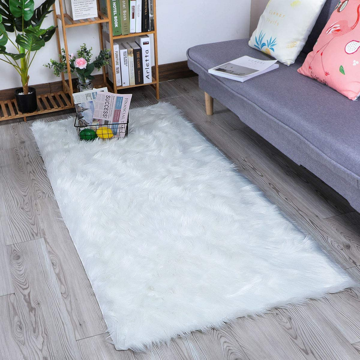 HLZHOU Faux Sheepskin Rug Soft Fluffy Chair Cover Seat Pad Home Decoration Area Rugs for Bedroom Sofa Floor 2.6×6 Feet 80x180cm , Square White