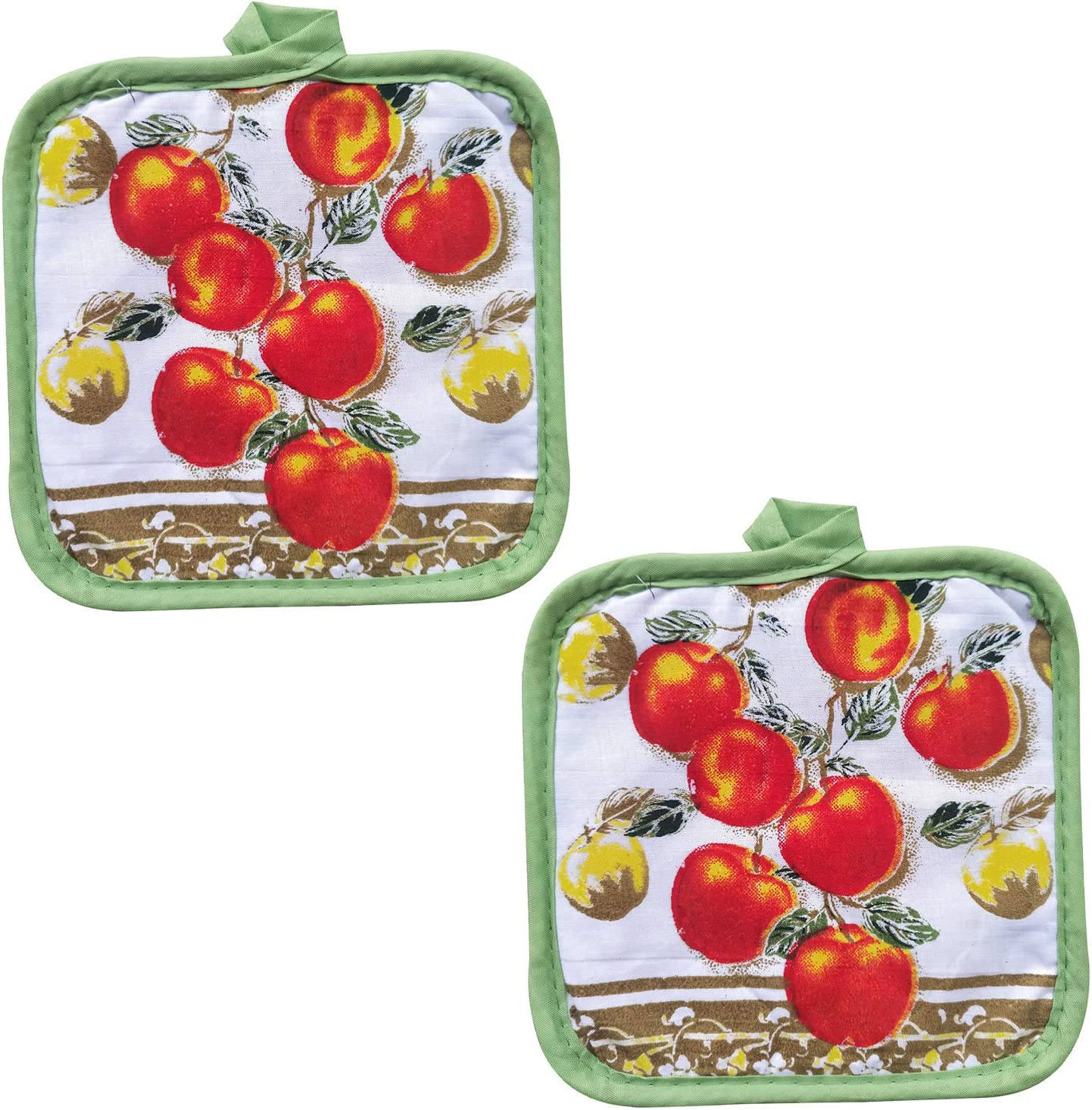 Baking 2 Kitchen Towels for Cooking Set of 6 Piece 2 Heat Insulation Oven Mitt Barbecue FSTIKO Tasty Apple Decor Printed Kitchen Linen Set Includes 2 Towels Pot Holders