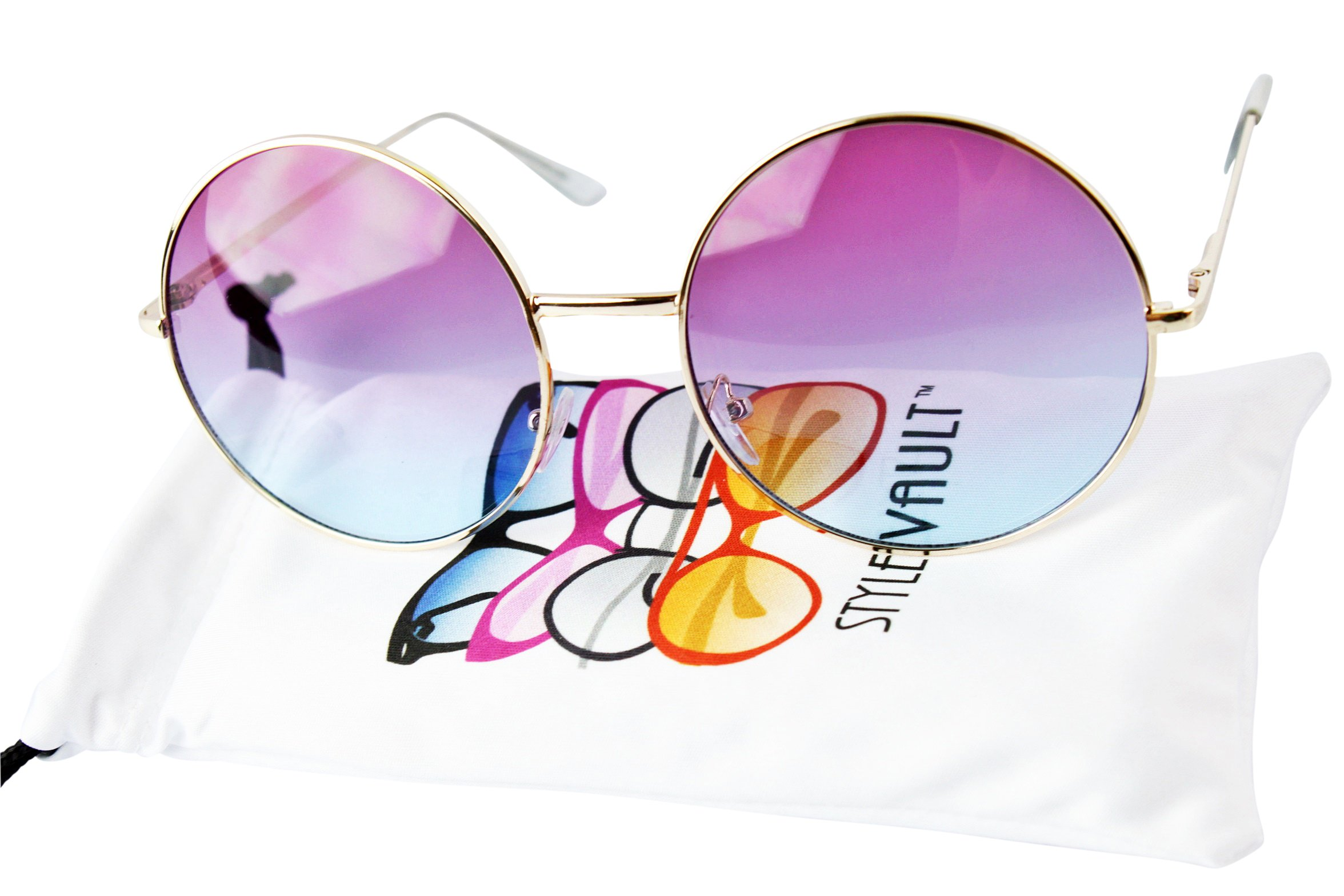 V129 Round 2 3/8'' Large Lens Circle Sunglasses (033C gold-pinkish blue, uv400)