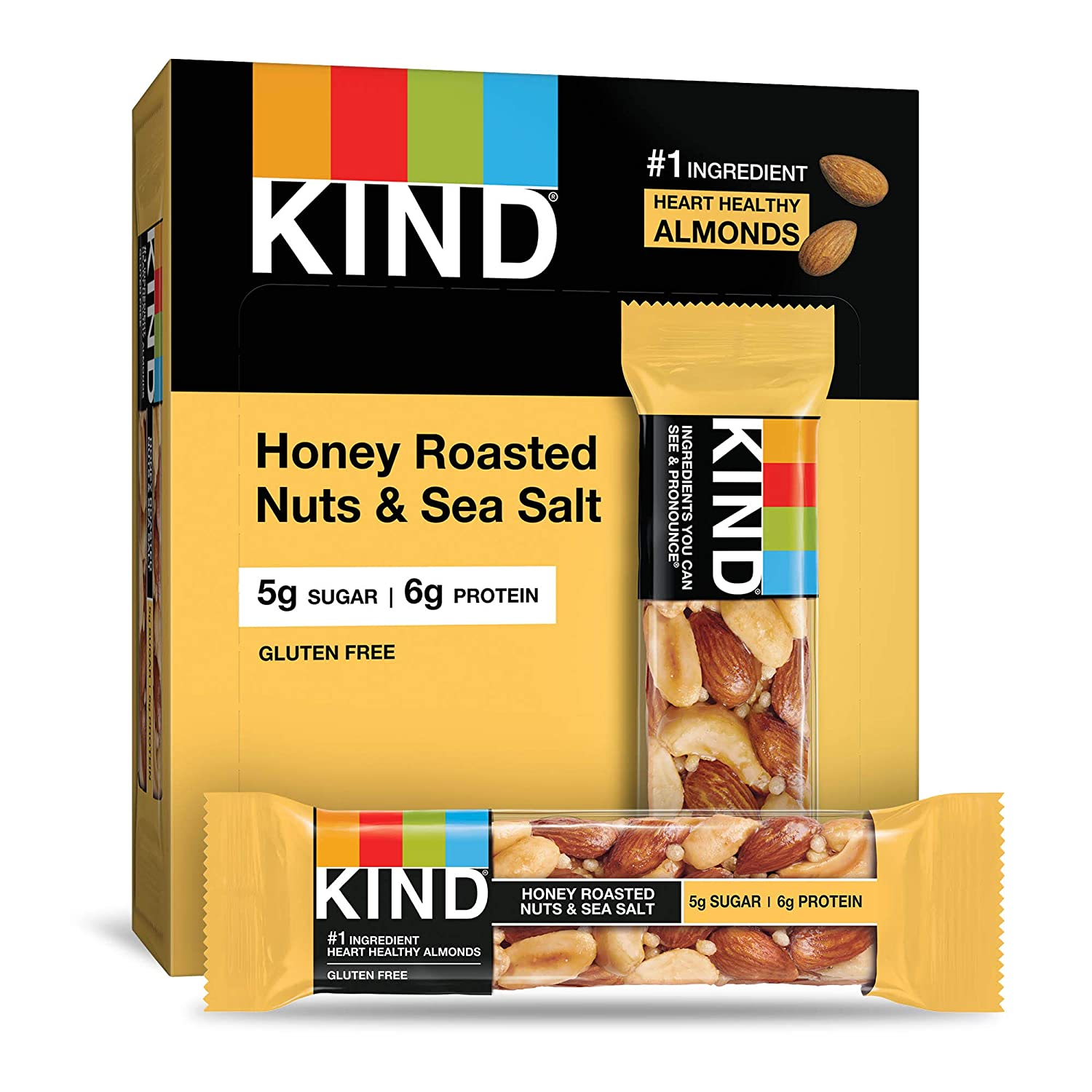 KIND Bars, Honey Roasted Nuts & Sea Salt, Gluten Free, Low Sugar, 4 Count (Pack of 12)