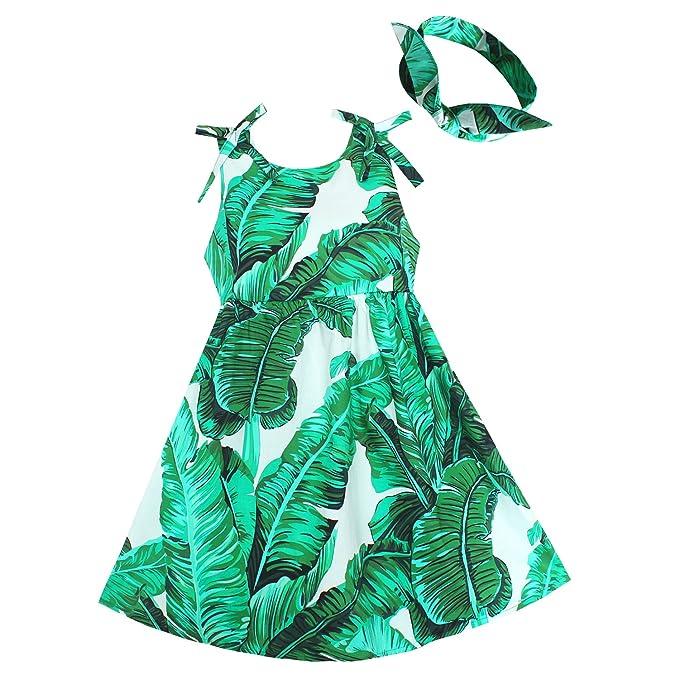 Amazoncom Shybobbi Niñas Vestido Con Diadema Hojas De
