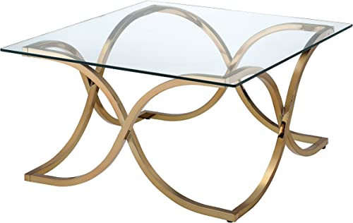 Furniture of America Lexine Curved X-Frame Champagne Coffee Table