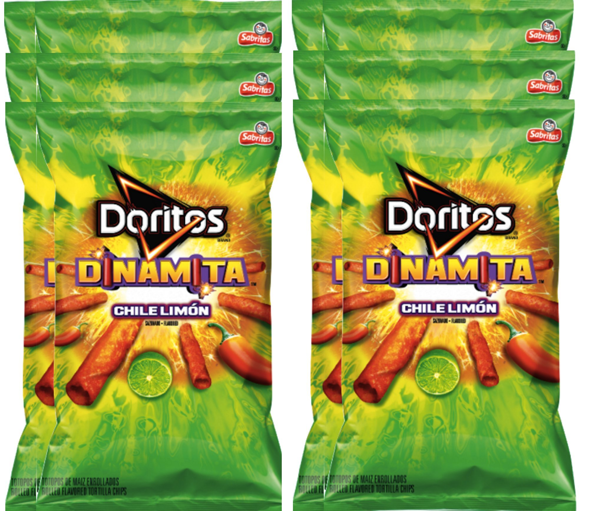 Doritos Dinamita Chile Limon Rolled Flavored Tortilla Chips, 9.25 oz Snack Care Package for College, Military, Sports (12)