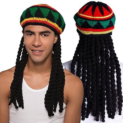 Unisex Gorro de Punto con Rasta Sombrero con Peluca Bob Marley Reggae Bob Marley Rastafari Jamaicano Jamaica: Amazon.es: Juguetes y juegos