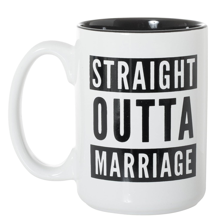 Straight Outta Marriage Black Inlay Large 15 oz Double-Sided Coffee Tea Mug