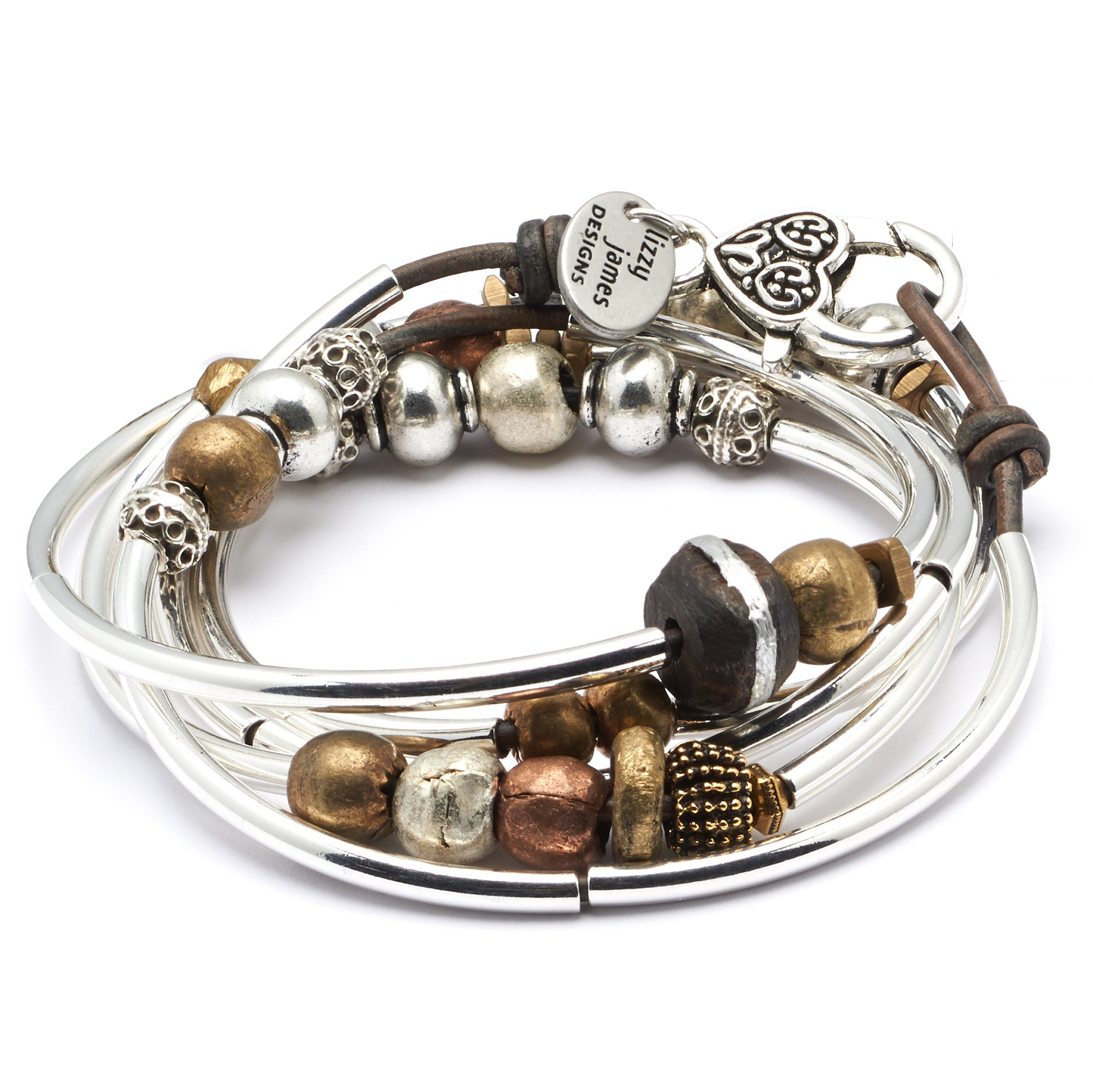 Infinity Silverplate Medium Bracelet Necklace with Dark Natural Brown Leather Wrap by Lizzy James