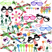 100Pcs Bulk Party Favor Pack Assortment Pinata Toys Including Bouncy Ball, wristband, Stamps,glasses,Small Cars, Dinosaur, an