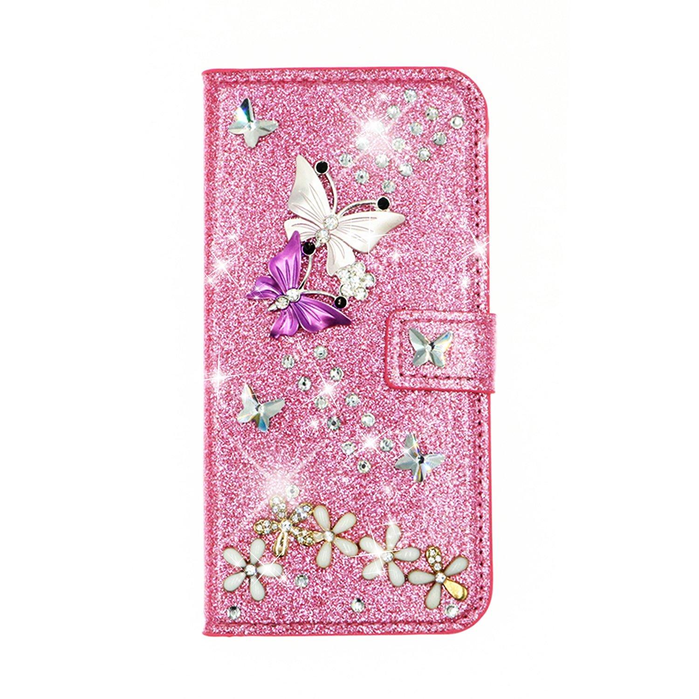QC-EMART Cover per Huawei P30 PRO Custodia in Pelle Oro Rosa Glitter Paillette Luccichio Farfalla Portafoglio Porta Carta Guscio Caso Case Protettiva Custodie Cellulari per Ragazza