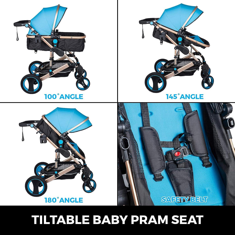 Frantools 2 en 1 Cochecito Beb/é de de Alta Calidad Plegable Port/átil Ligero Amortiguador Ajustable con Carro Multiuso para Beb/és Reci/én Nacidos Carrito con Capazo Cuna para Beb/é Azul